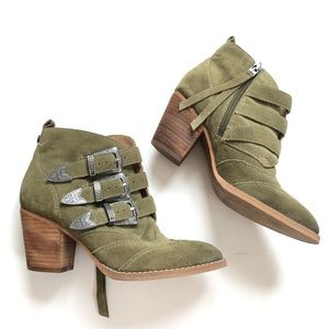 Sam Edelman Suede Buckles Booties | Olive Green
